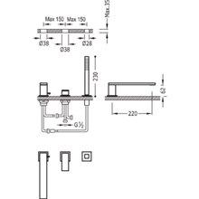 Combinación para bañera CUADRO-TRES 22cm