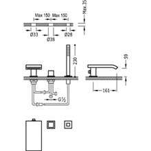 Combinación para bañera con cascada CUB CUADRO-TRES