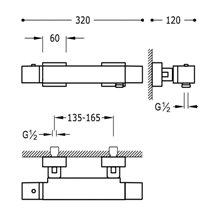 Grifo de ducha termostático CUADRO-TRES