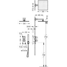 Kit de ducha termostático 2 vías CUADRO-TRES