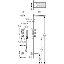 Kit de bañera-ducha termostático 3 vías RM CUADRO-TRES
