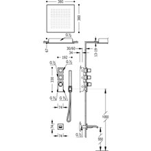 Kit de bañera-ducha termostático 3 vías RT CUADRO-TRES