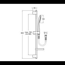Kit de ducha Square barra 80cm 4 funciones Sensum Roca