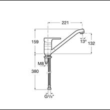 Mezclador cocina caño central L20 Roca