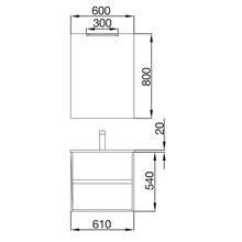 Mueble 60cm Blanco Brillo de 2 cajones SALGAR NOJA