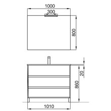 Mueble 101cm Gris Mate 3 cajones SALGAR ARENYS