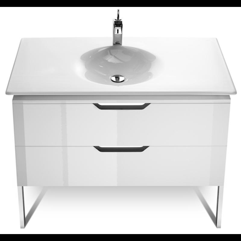 Mueble 100cm blanco y lavabo kalahari roca materiales de for Mueble lavabo blanco