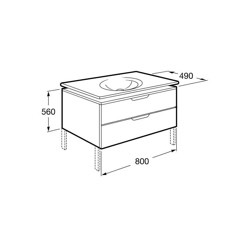 Mueble 80cm blanco y lavabo kalahari roca materiales de for Mueble lavabo blanco