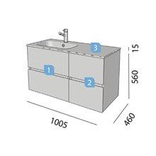 Mueble 60+40 cm 2 cajones SALGAR FUSSION LINE