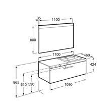Pack mueble 110cm un cajón gris antracita Prisma Roca