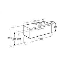 Mueble 110cm un cajón fresno Prisma Roca