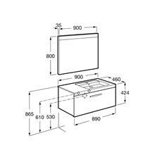 Pack mueble 90cm un cajón blanco brillo Prisma Roca