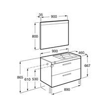 Pack mueble 90cm dos cajones gris antracita Prisma Roca