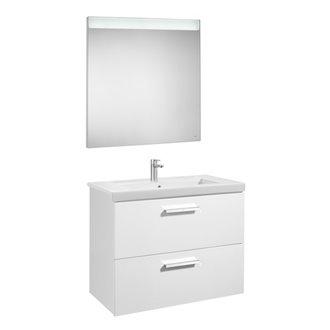 Pack mueble con lavabo 80cm dos cajones blanco Prisma Roca