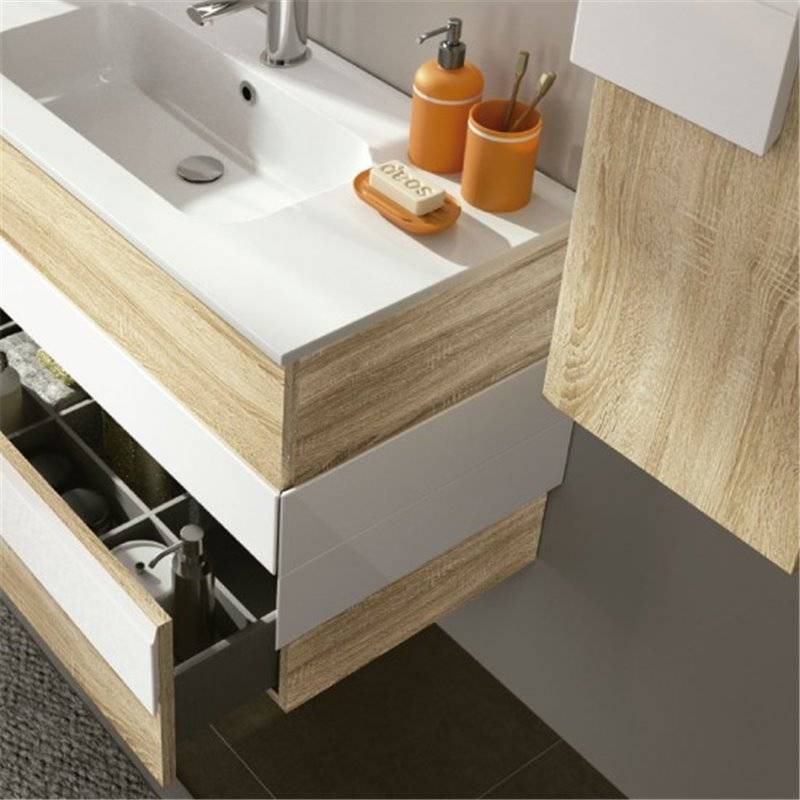 Mueble roble blanco cronos salgar materiales de f brica for Mueble blanco y roble