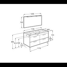 Pack mueble gris 120cm 4 cajones Debba Roca