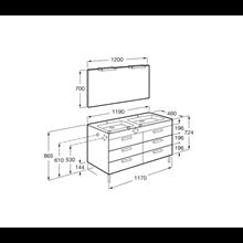 Pack mueble gris 120cm 6 cajones Debba Roca
