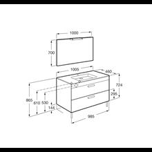 Pack mueble gris 100cm 2 cajones Debba Roca