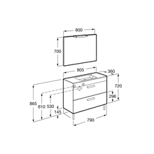 Pack mueble gris 80cm compacto 2 cajones Debba Roca