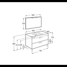 Pack mueble gris 80cm 2 cajones Debba Roca