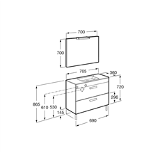 Pack mueble gris 70cm compacto 2 cajones Debba Roca