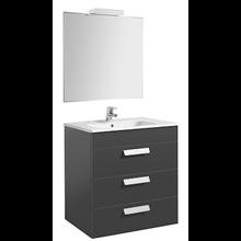 Pack mueble gris 70cm 3 cajones Debba Roca