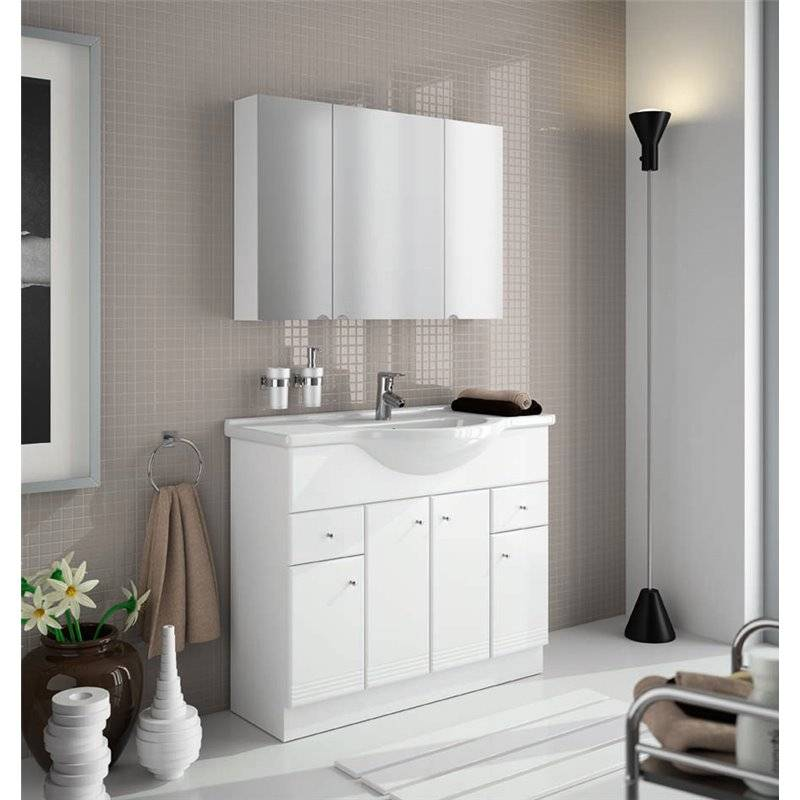 Mueble con lavabo integral blanco 105cm praga nilo salgar for Mueble lavabo blanco