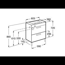 Mueble gris 60cm compacto 2 cajones Debba Roca