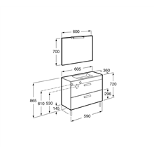 Pack mueble gris 60cm compacto 2 cajones Debba Roca