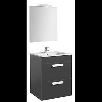 Pack mueble gris 60cm 2 cajones Debba Roca
