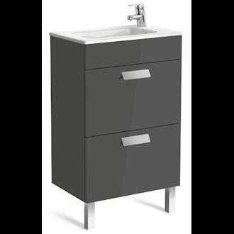 Mueble gris 50cm compacto 2 cajones Debba Roca