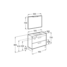 Pack mueble gris 50cm compacto 2 cajones Debba Roca