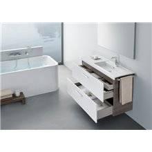 Pack mueble 110cm dos cajones blanco-fresno Prisma Roca
