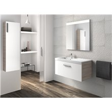 Pack mueble con lavabo blanco-fresno Prisma Roca