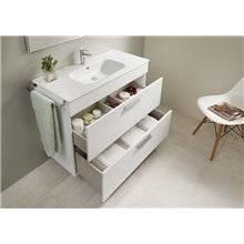 Pack mueble blanco 60cm 2 cajones Debba Roca