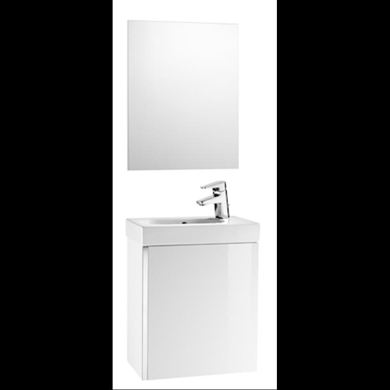 Mueble blanco con espejo Mini Roca  Materiales de Fábrica