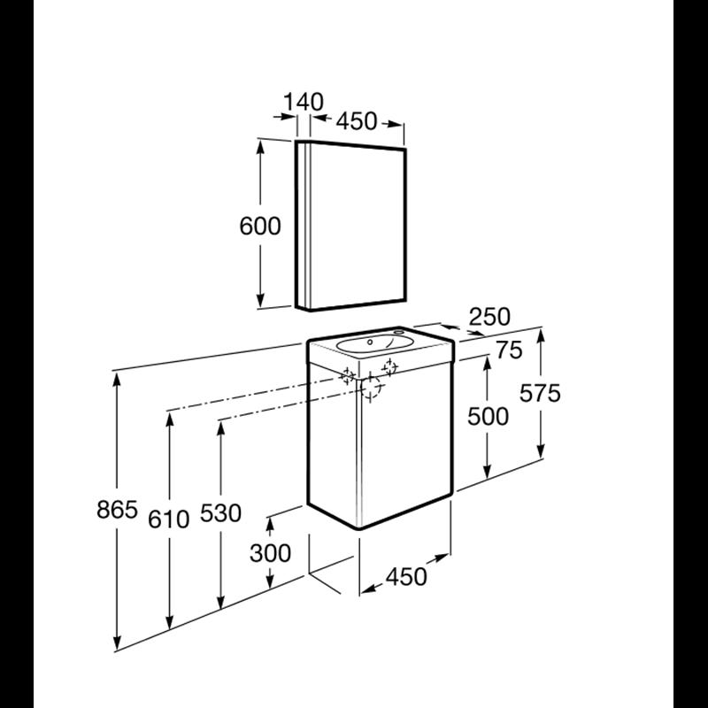 Mueble arena con armarioespejo Mini Roca  Materiales de Fábrica
