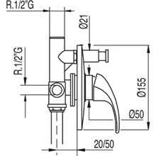 Grifo empotrado de 2 vías MONO-TRES 2000