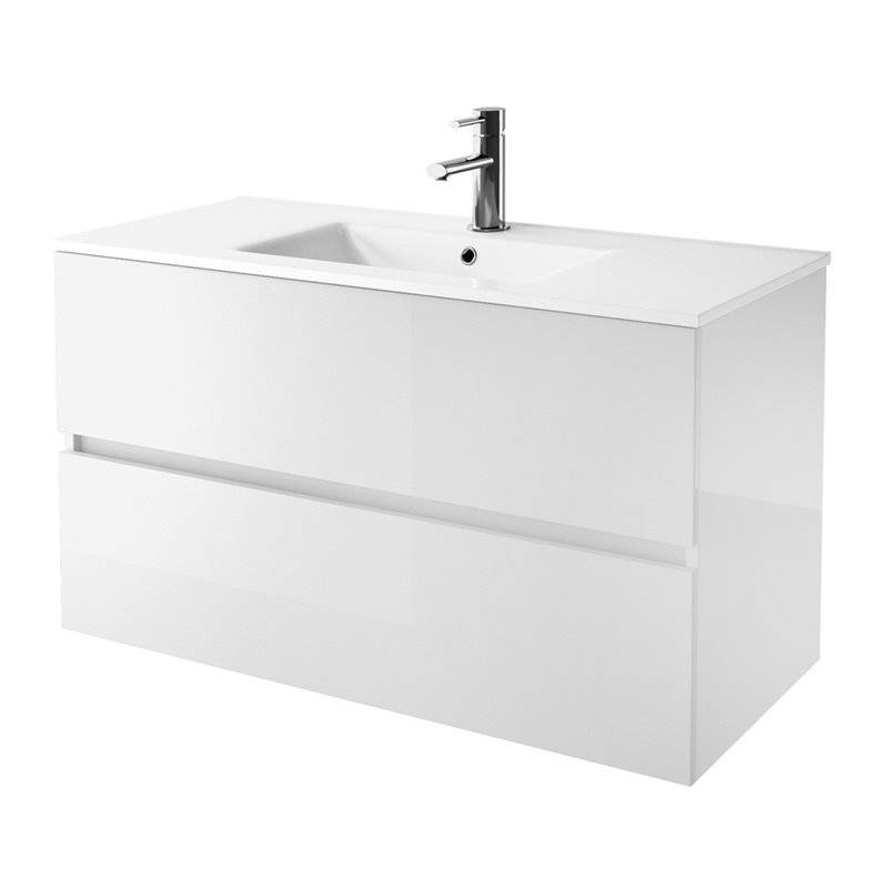 Mueble 80cm blanco brillo 2 cajones salgar fussion line for Mueble blanco brillo