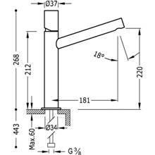 Grifo de lavabo Max-Tres caño medio volante