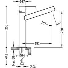 Grifo de lavabo Max-Tres caño medio con maneta