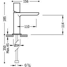 Grifo de lavabo Max-Tres caño cascada circular con volante