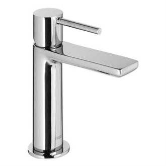 Grifo de lavabo Max-Tres caño cascada circular con maneta