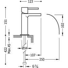 Grifo de lavabo Max-Tres caño cascada libre con maneta