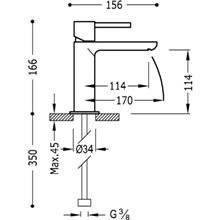 Grifo de lavabo Max-Tres caño corto cascada horizontal con maneta