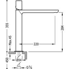 Grifo de lavabo Max-Tres caño extralargo horizontal con volante