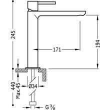 Grifo de lavabo Max-Tres caño medio cascada circular con maneta