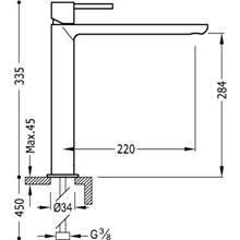 Grifo de lavabo Max-Tres caño largo cascada circular con maneta