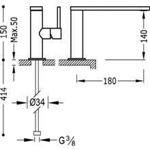 Grifo de lavabo Max-Tres caño corto con maneta ECO
