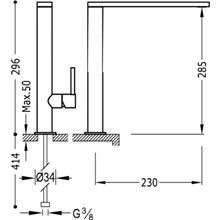 Grifo de lavabo Max-Tres caño largo con maneta ECO